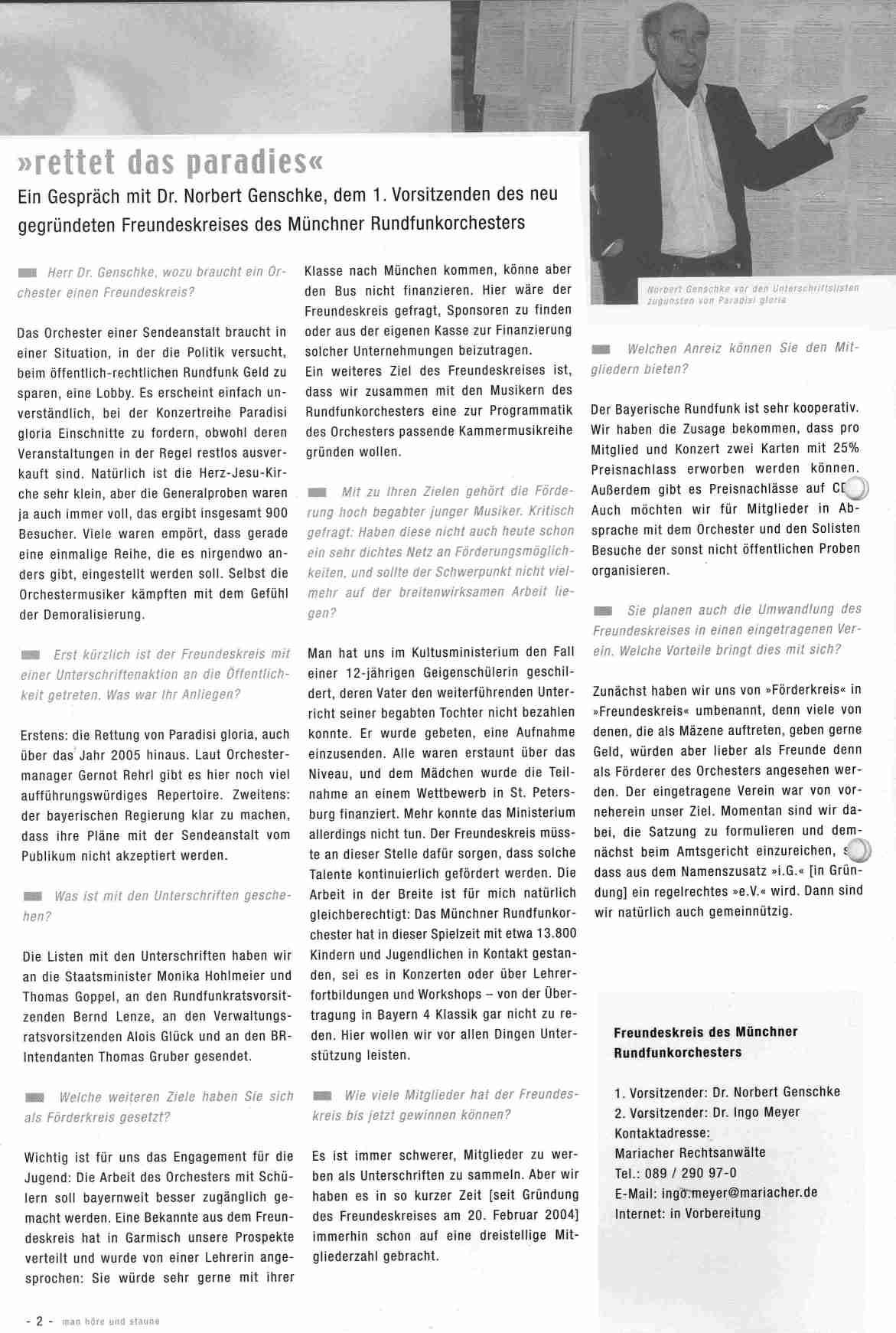 """Interview in """"man höre un staune"""" vom Feb. 2006"""